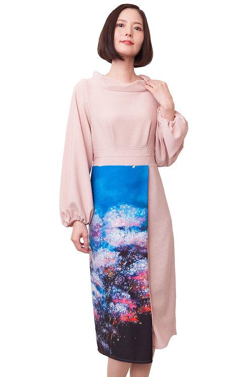夜桜タイト丸首ドレス