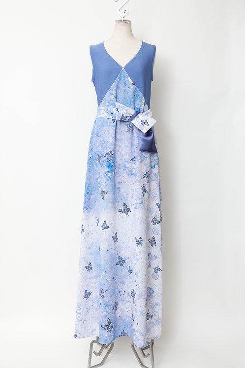 春の蝶クロスロングドレス
