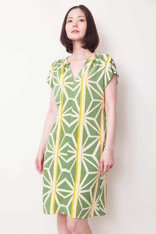 キャリア半袖ワンピース On-0001麻の葉緑