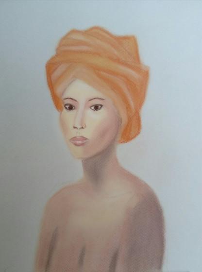 Femme au turban orange