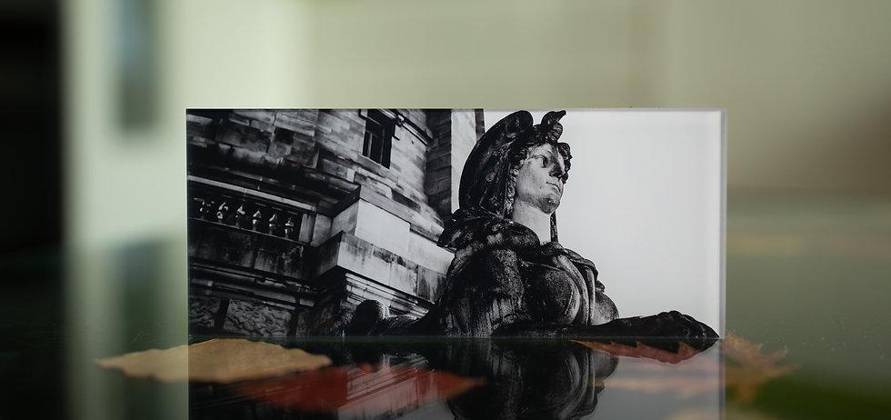 DIE SPHINX AM WASSERTURM - Echter Fotoabzug   hinter 4mm Acrylglas   auf 2mm AluDibond   inkl. Aufhängung von Alexander Kästel