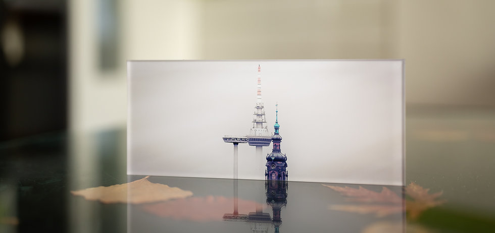 DIE DREI TÜRME - Eines der Drei Ufos - Funkturm Mannheim und CityKircheKonkordien  - Echter Fotoabzug   hinter 4mm Acrylglas   auf 2mm AluDibond   inkl. Aufhängung von Alexander Kästel
