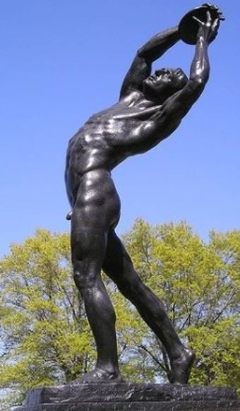 """Statue """"The Discus Thrower"""" at entrance to Randall's Island NYC"""
