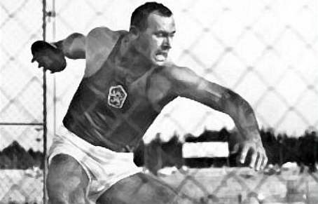 Ludvik Danek of Czechoslovakia sets discus WR on 8/2/64 to become Olympic favorite