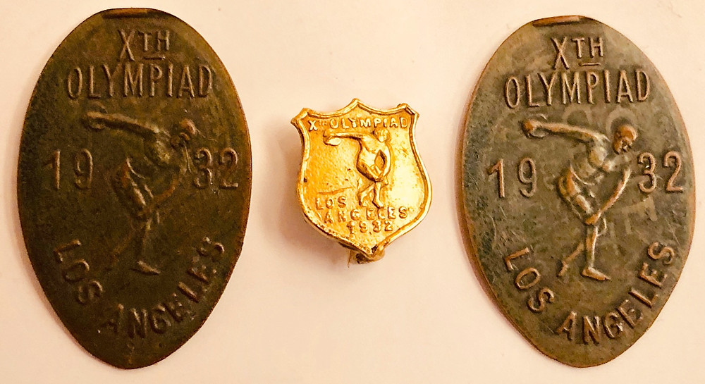 1932 Olympic Medallions and Gold Pin