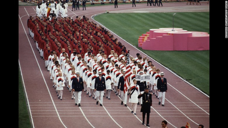 The USA Team enters the Olympic Stadium