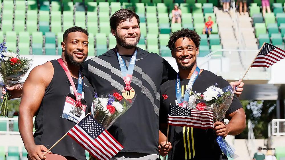 At U.S. Trials, U.S. Men's Discus Team (L to R) Reggie Jagers, Mason Finley, Sam Mattis