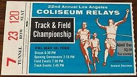 1962 LA Coliseum Relays Ticket