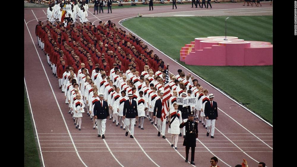 Janice Romary leads U.S. Opening Ceremony, 1968