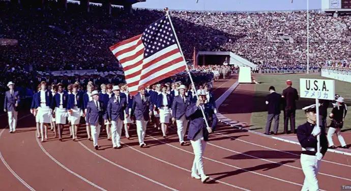 Flag bearer Parry OBrien leads U.S. Olympic Team
