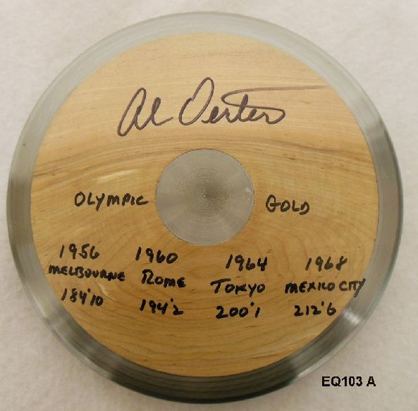 """New """"blonde"""" discus signed by Al Oerter, 1998"""