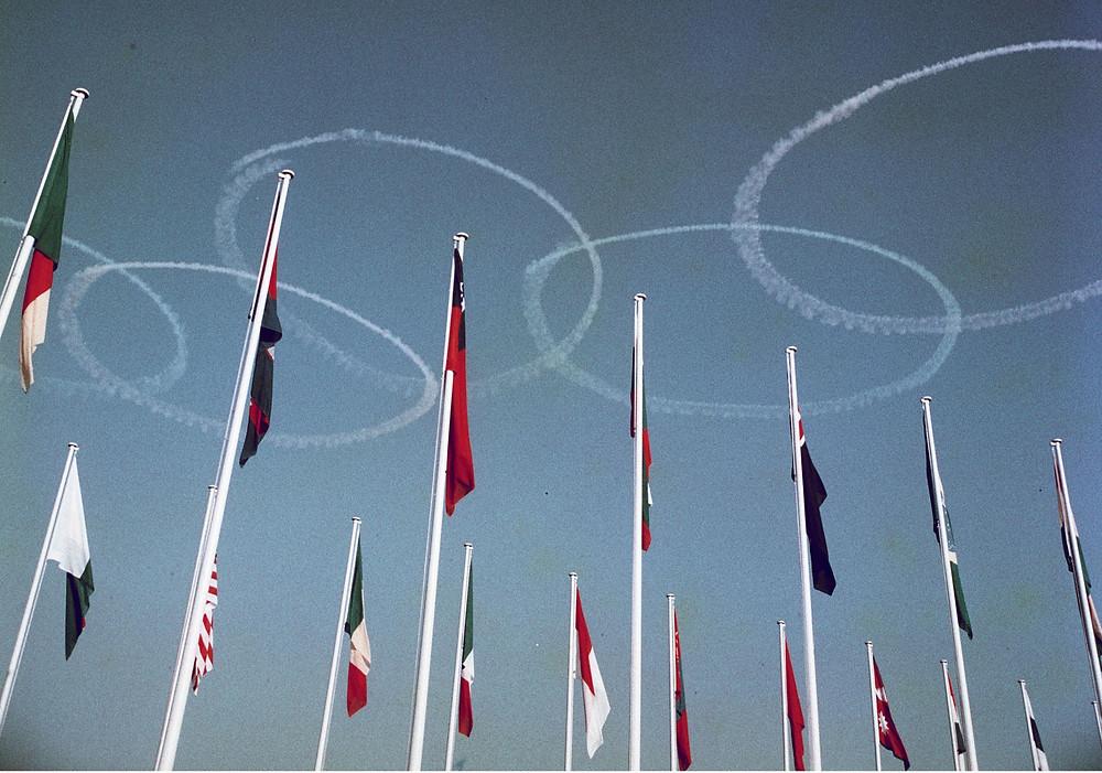 Olympic Rings in skywriting, Opening Ceremonies, Tokyo, 1964