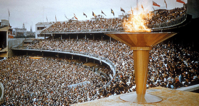 Melbourne Cricket Ground from the Olympic Cauldron 1956