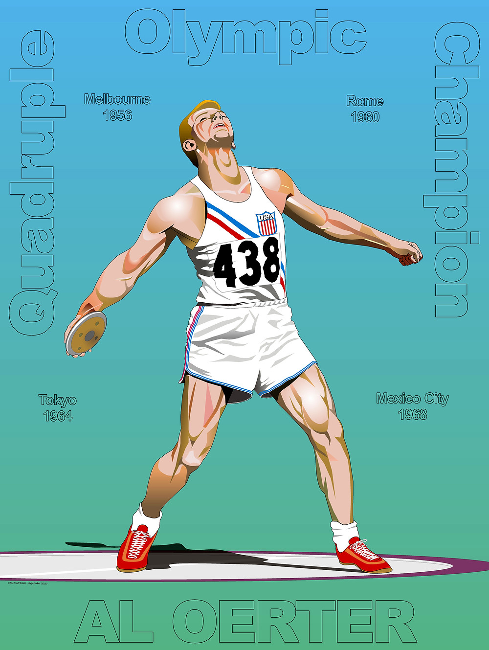Colour illustration of Al Oerter, Olympic Discus Thrower, 1956 by Case Ellerbroek