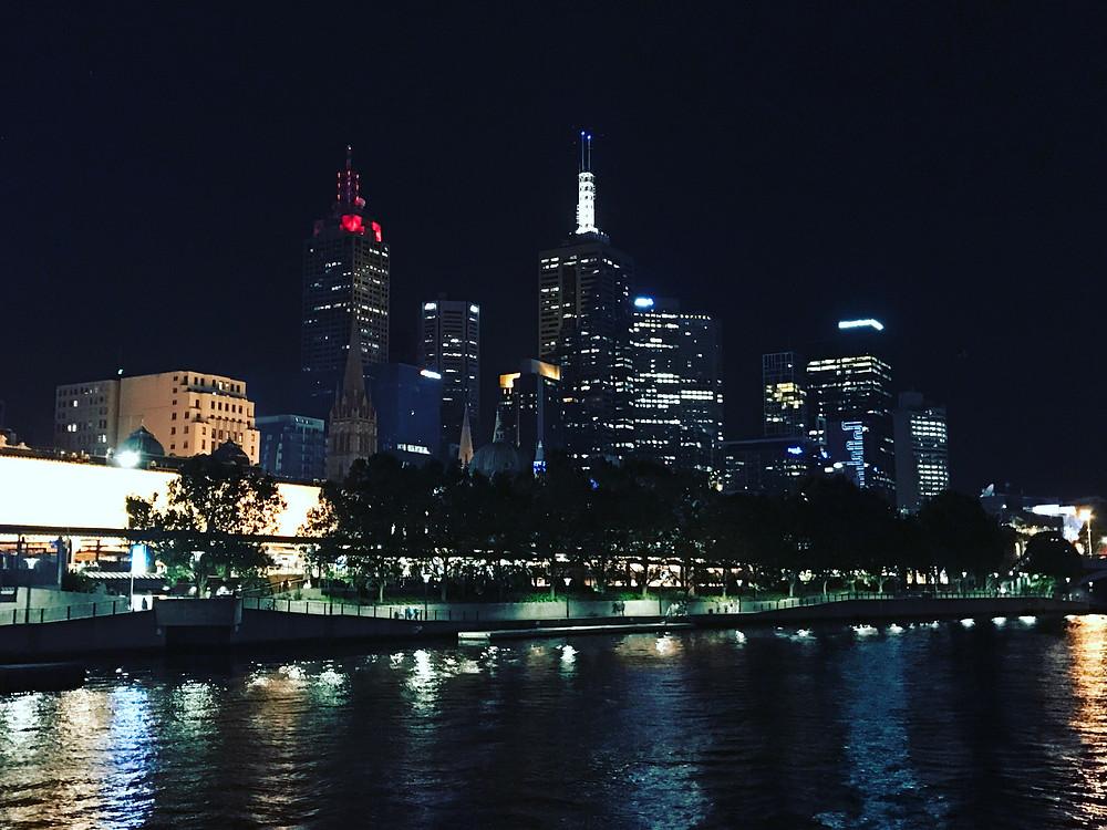 Melbourne Southbank Night City Lights by Flynx