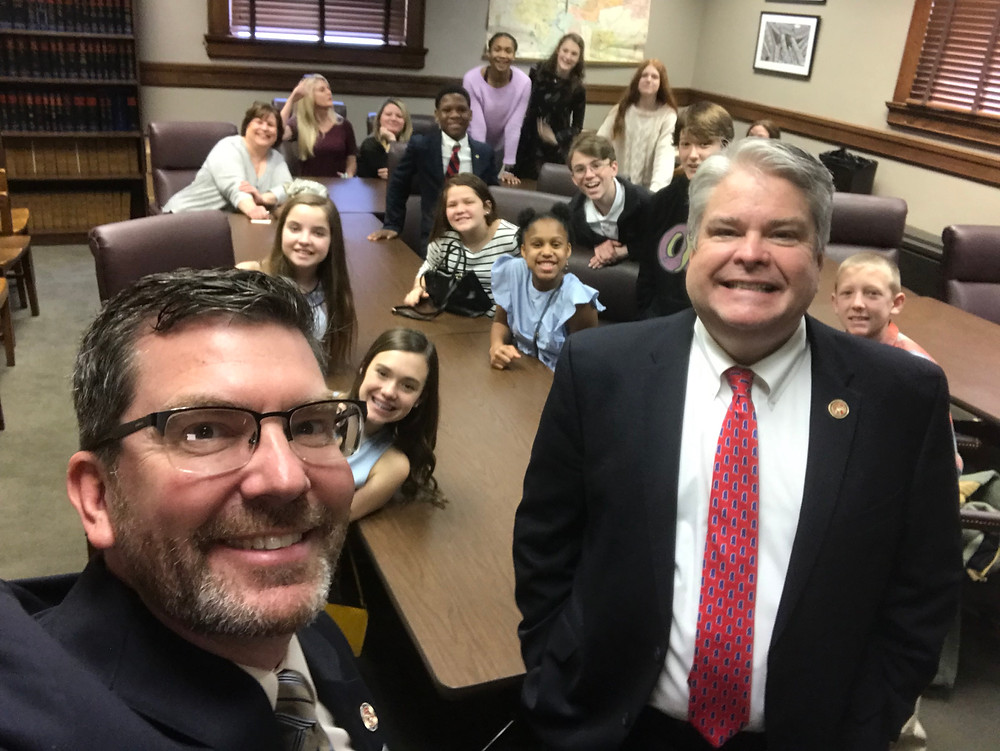 Representative Dan Eubanks and Steve Hopkins hanging with Desoto Central Middle Student Council.