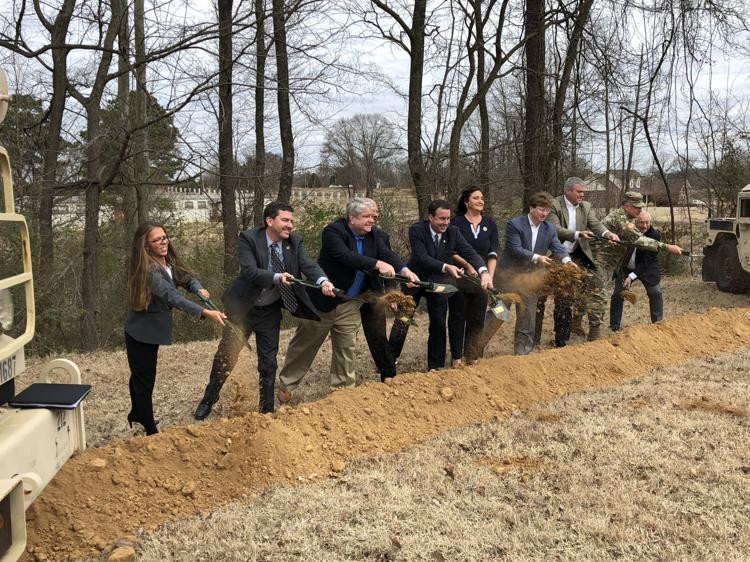 Ground breaking for the new National Guard Armory in Nesbit, Mississippi.