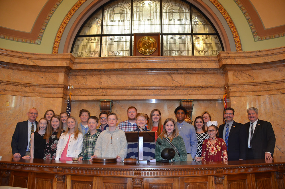 Hernando Middle School Student Council in the House chamber.