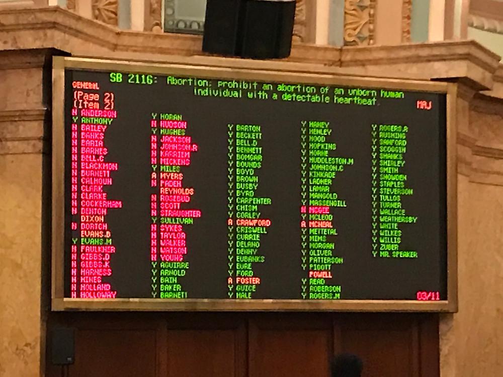 House vote on Senate's Heartbeat Bill.