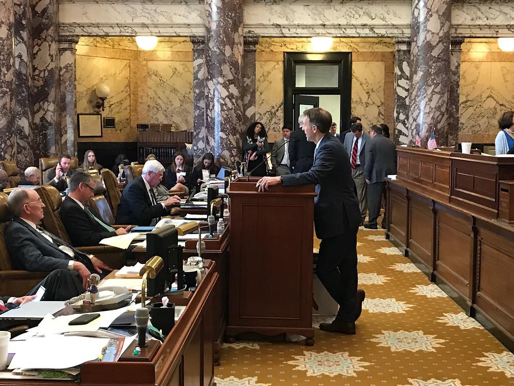 Senator Tollison presenting Convention of States Resolution.