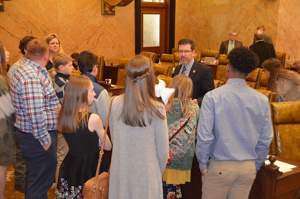 Giving the Hernando Middle School students a tour of the House chamber.