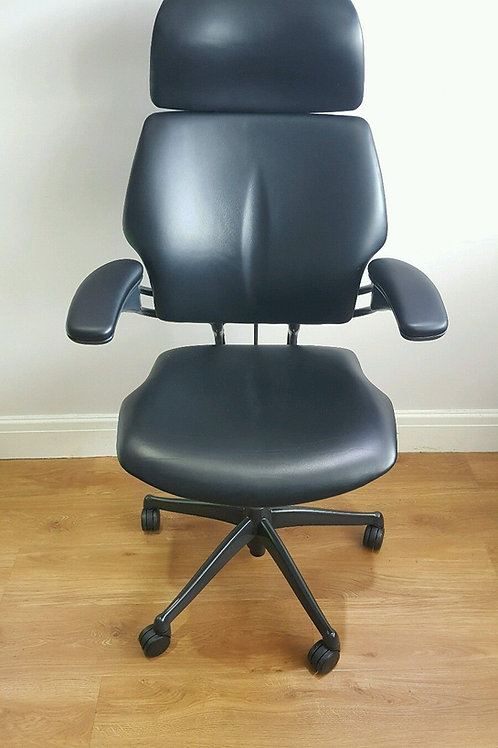 Black Leather Humanscale Freedom High Back Office Chair