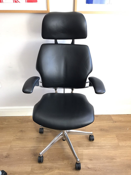 xecutive Chrome & Black  Leather Humanscale Freedom High Back chair