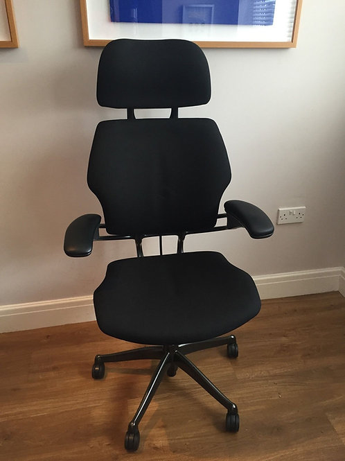 Humanscale Freedom Ergonomic Chair Headrest High Back Black Fabric