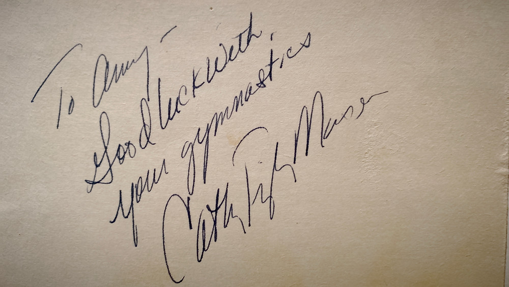 Cathy Rigby Mason's autograph in female director Amy Moran Compton's autograph book