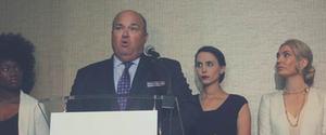 "Rachel Denhollander alngside Sarah Klein were Larry Nassar ""firsts"" - shown with John Manly"