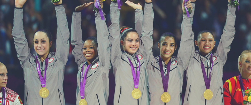 The Fierce Five Olympic Gold Medalists and Larry Nassar Victims Jordan Weiber, Gabby Douglas, McKayla Maroney, Aly Raisman, and Kyla Ross