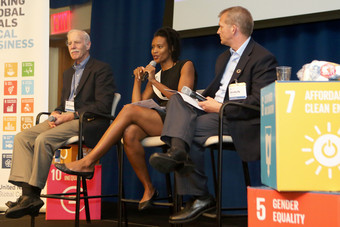 Dr. Dick Salmon from Cigna (L), Loyce Pace from the Global Health Council (C), and Shaun Mickus from Johnson & Johnson (R) discuss corporate action to improve health.
