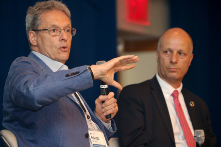 David Gelber (L) and Maher Nasser (R) in a plenary conversation about climate change and the Global Goals.