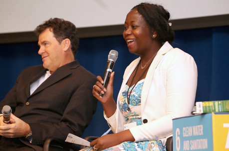 Rosedel Davies-Adewebi, Senior Manager of Global Compact LEAD at the United Nations Global Compact (R), and Hugh Welsh, President of DSM North America (L), in the Breakthrough Innovation session.