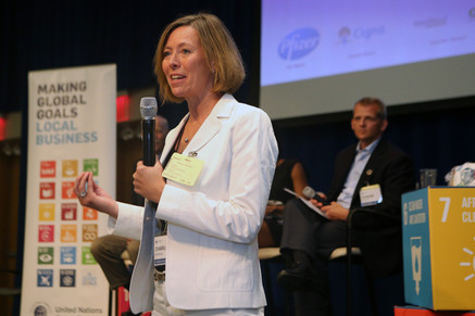 """Charlotte Ersboll, Senior Advisor at the United Nations Global Compact, addresses the room at the """"Health is Everyone's Business"""" session."""