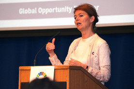 Lise Kingo, Executive Director of the United Nations Global Compact, delivering the afternoon keynote.