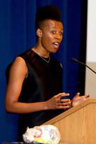 Elizabeth Nyamayaro, Head of the HeForShe Movement at UN Women, delivering the morning keynote.