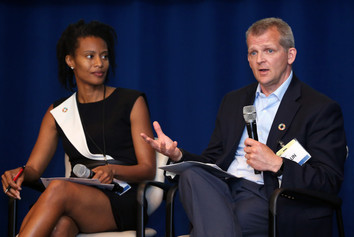 Loyce Pace from the Global Health Council (L) and Shaun Mickus from Johnson & Johnson (R) discuss corporate action to improve health.