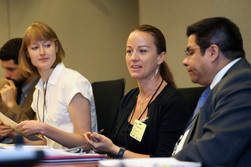 """Justine Shakespeare from Verité (L), Anita Househam from the United Nations Global Compact (C), and Erick Zeballos from the International Labour Organization (R) in the session on """"Decent Work in Global Supply Chains."""""""
