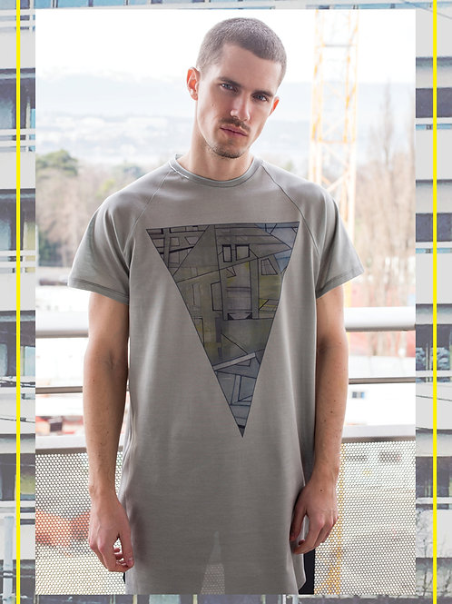 Urban Triangle Grey Long Line T