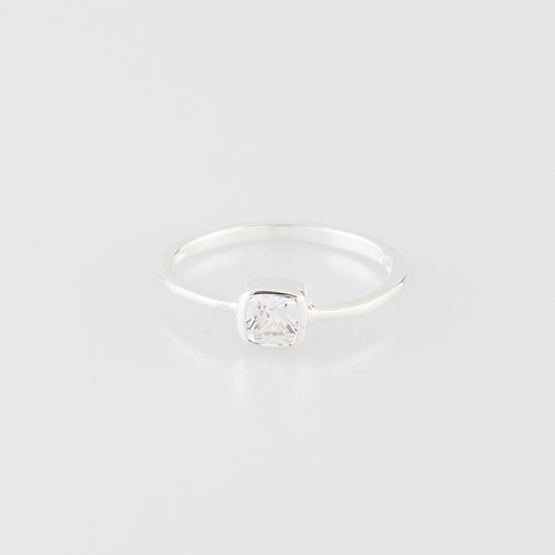 Square Crystal Ring 925 Sterling Silver