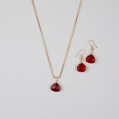 Lulu Red Pear Necklace And Earrings