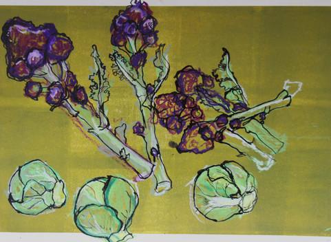 observational drawing - brocoli