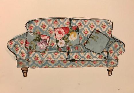 mixed media sofa