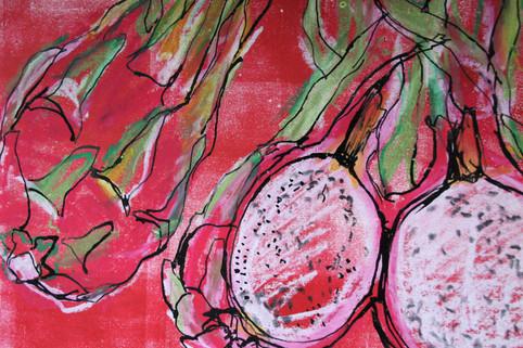 observational drawing - dragonfruit