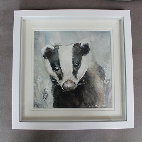 Original badger watercolour painting.