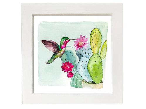Small framed Hummingbird and Cacti