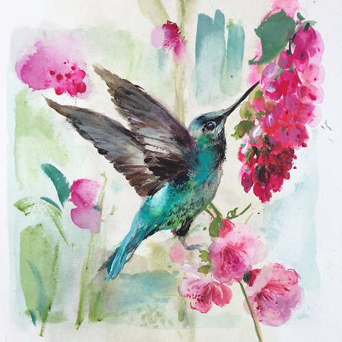 Humming bird with pink flowers