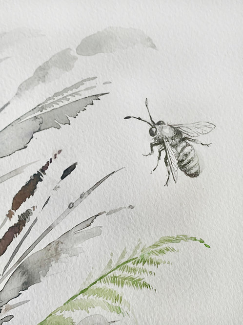 Bee and wild grasses, unframed