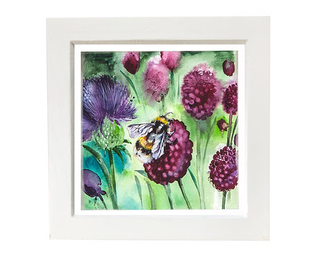 Small framed Bee and Allium